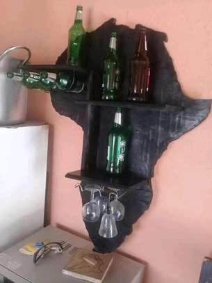 Unique Africa Shaped Wineshelf image 1