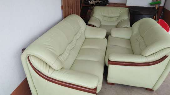 6 seater Green leather sofa seat