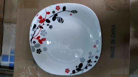 6pc square dinner plate/Round dinner plate/Glass plate/Flowered plates image 1