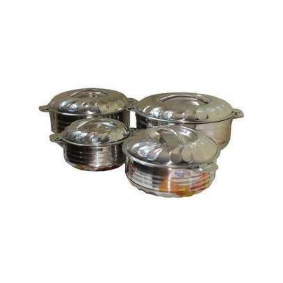 Signature 4 Pieces - Stainless Steel Food Server Hot Pots Set Casserole -Silver