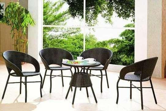 4 piece rattan balcony chairs image 2
