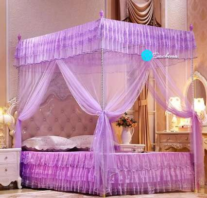 purple straight four stand mosquito net image 1