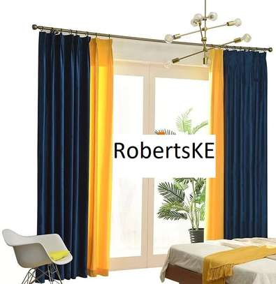 Linen blue and yellow curtains image 1