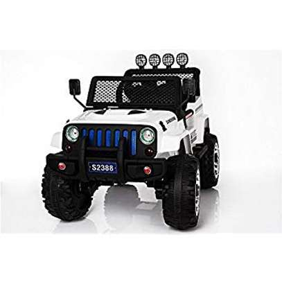 12V Jeep Kids Electric Rechargeable Remote Control Ride On Car- WHITE AND RED image 1