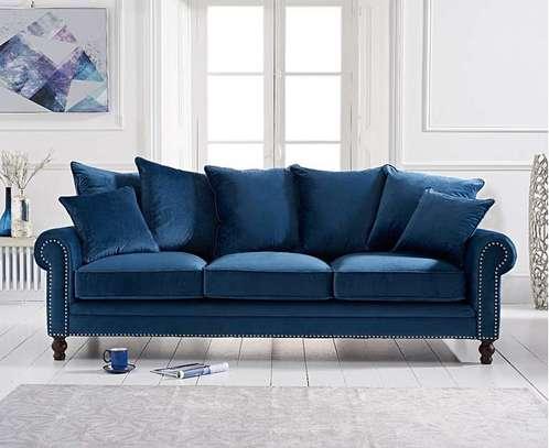 1823 Blue Velvet 3 Seater Sofa image 2