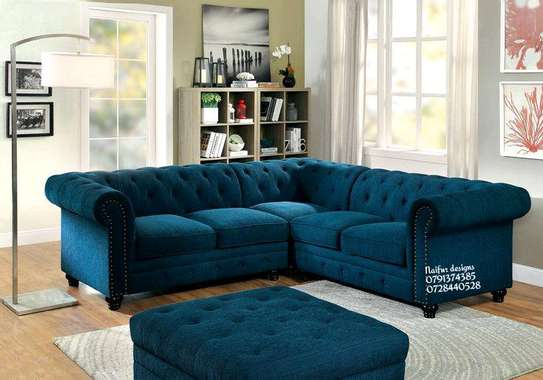 Blue chesterfield sofa for sale in Nairobi Kenya/five seater corner sofa/Latest Corner sofas for sale in Nairobi Kenya image 1