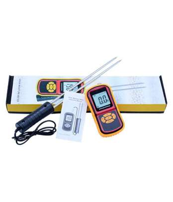 Digital Grain Moisture Meter GM640 RT640 Portable with 8 Measuring Grains Species Long Steel Probe Sensor with Large LCD Display image 1