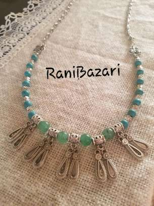 Turquoise and marble necklace