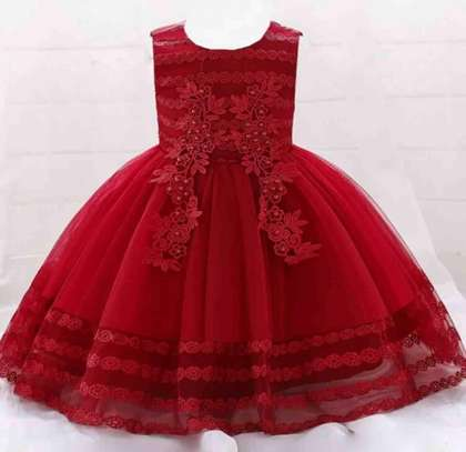 Toddler Girls pearls Applique  Front Embroidery Detail Grown Dress