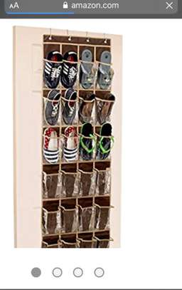 24 Pockets SimpleHouseware Crystal Clear Over The Door Hanging Shoe Organizer, Brown image 2