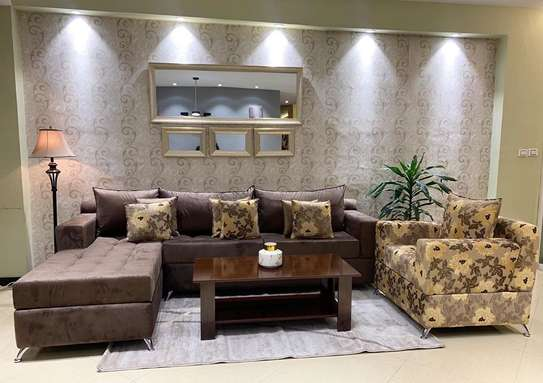 Brown Flowery Sofa