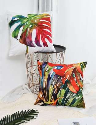 Colorful Tropical Leaf Cushion Cover