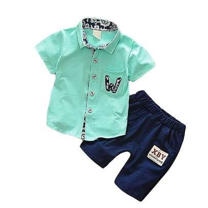 Green Boys 2 pcs shorts set image 1