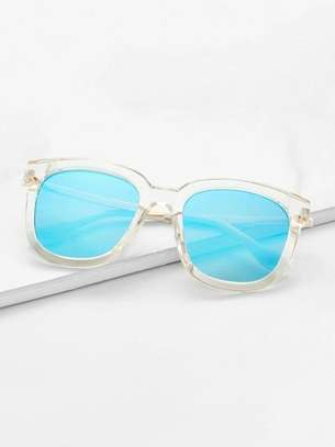 Clear Frame Mirror Lens Sunglasses with cute case