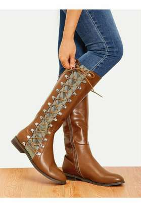 Lace-up Side Knee High Boots image 1