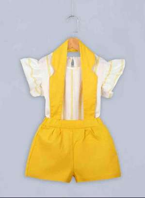 Toddler Girls Striped Blouse With Overalls