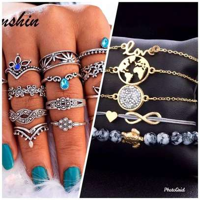 13 set rings + 5set braclets all in one for her image 1