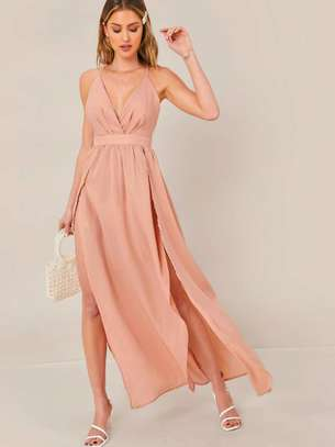 Open Back High Split Halter Dress