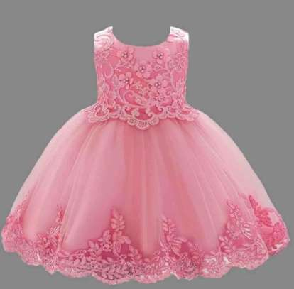 Toddler Girls Embroidery Applique knot Grown Dress
