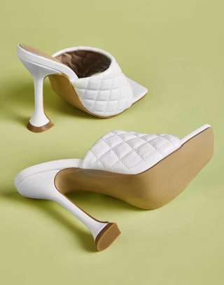Quilted Heeled Mules