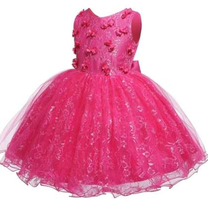 Toddler Girls Appliques Contrast Mesh Fit And Flat Dress