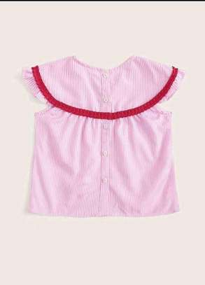 Toddler Girls Frilled Tape Button Front Striped Top