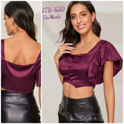 Butterfly Sleeve Button Front Satin Crop Blouse