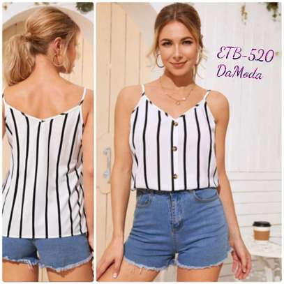 Button  Front Striped Cami