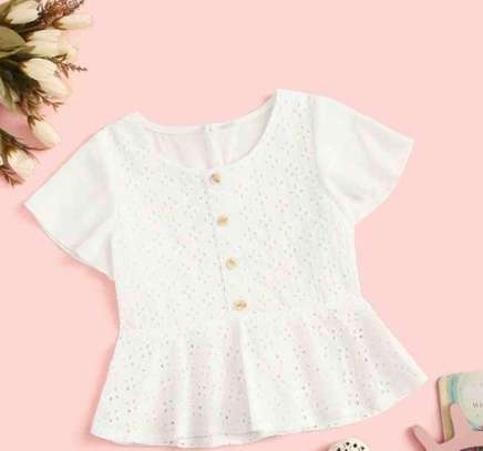 Toddler Girls Eyelet Embroidery Button Front Peplum BlouseA