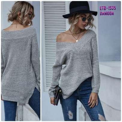 V-Neck Slit Solid Sweater
