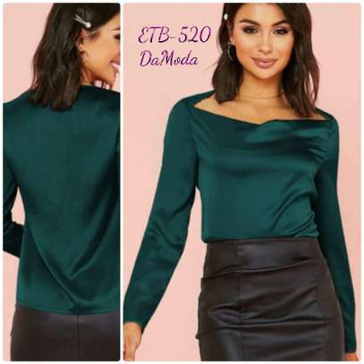 Draped Neck Solid Satin Top
