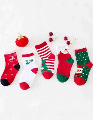 5pairs Toddler Kids Santa Claus & Polka Dot Pattern Ankle Socks
