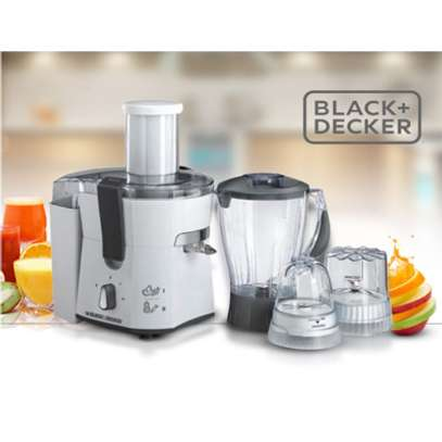 Black+Decker 500W Four-in-One Juicer, Blender, Mincer & Grinder, White - JBGM600-B5