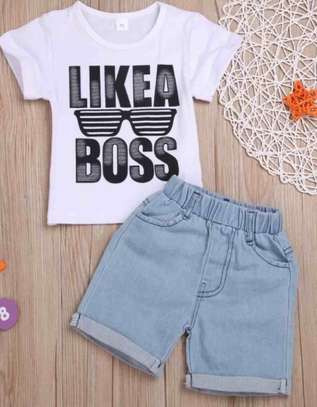 Toddler Boys Letter Print Tee with Denim Shorts