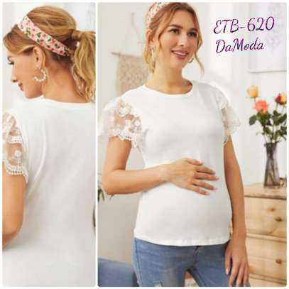 Maternity Embroidery Mesh Sleeve Top image 1