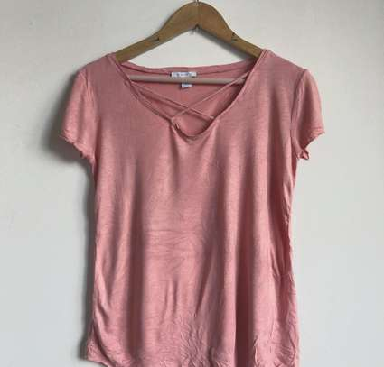 Light Pink Cross Neck Shirt