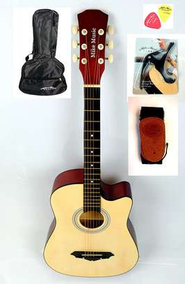 38 inch Mike Music Acoustic Guitar with Bag Strap Capo Picks (natural) Suitable for beginners image 1