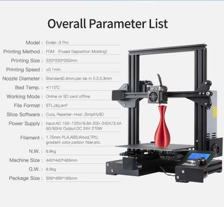 CREALITY Ender-3 Pro 3D Printer; Magnetic Build Plate; Resume Power Failure; MeanWell Power Supply; DIY Assembly Printer Kit image 2