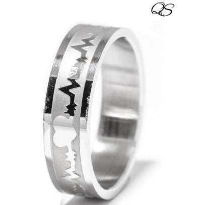 Silver Color Heartbeat Ring image 1