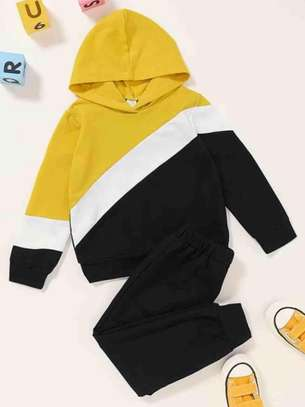 Toddler Boys Cut and Sew Panel Hoodie and Sweat Pants