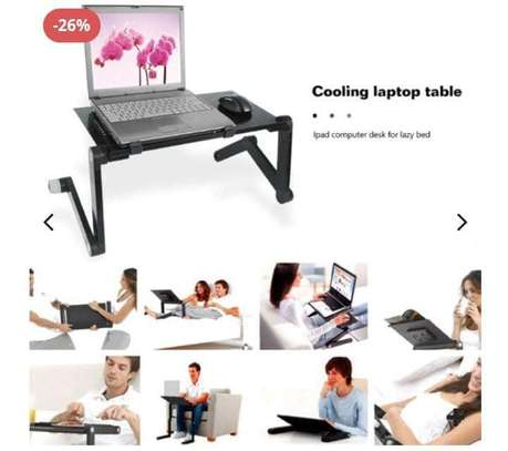 T8 Multifunctional Adjustable Laptop Table With Mouse Pad & Cooler Fan image 1