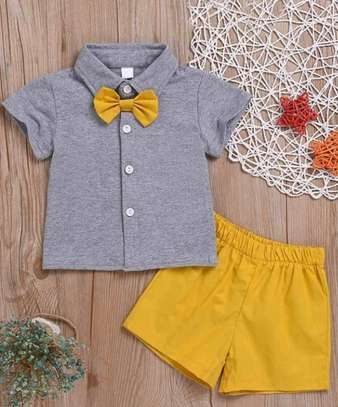 Toddler Boys Bow Button Front shirt With Shorts