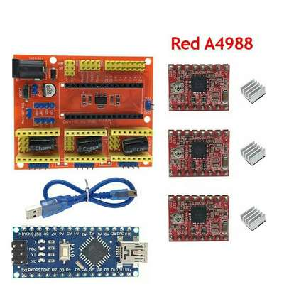 CNC Shield V4 Expansion Board +NANO 3.0 with usb for Arduino+3pcs Stepper Motor Driver A4988 for 3D Printer