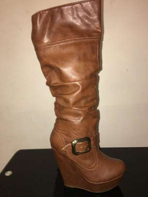 Brown Color Women Knee High Boots