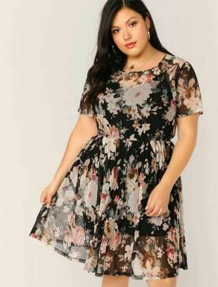 Plus Floral Print Sheer Dress Without Cami image 2
