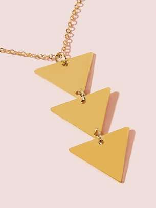 Tiered Layered Triangle Charm Chain Necklace 1pc image 1