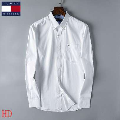 White Tommy Hilfiger Men's Long Sleeve Button Down Shirt in Classic Fit