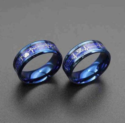 Blue Heart Beat Ring