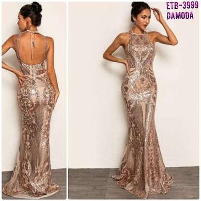 Joy Funear Tie Back Chain Detail Fish Tail Hem Sequin Dress