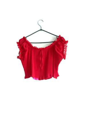 Hot Red Off shoulder crop top image 1